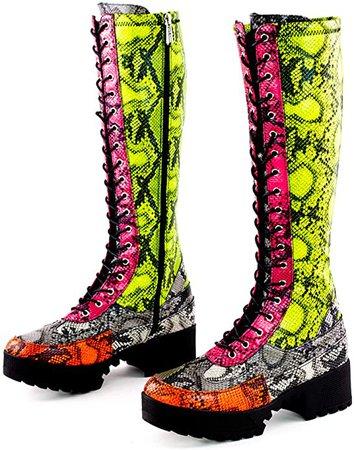 Amazon.com | Cape Robbin Eliza Combat Boots for Women, Platform Boots with Chunky Block Heels, Womens Boots Mid Calf Booties | Mid-Calf