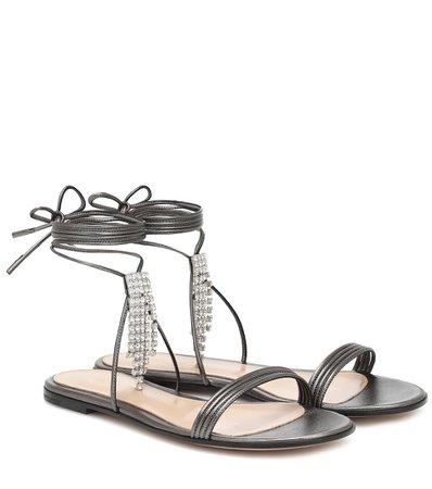 Gianvito Rossi - Embellished leather sandals | Mytheresa