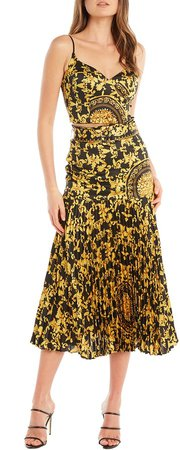 Scarf Print Pleat Midi Skirt
