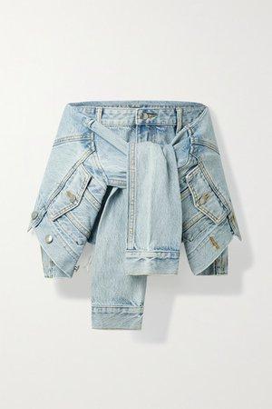 Tie-front Layered Frayed Denim Shorts - Light denim