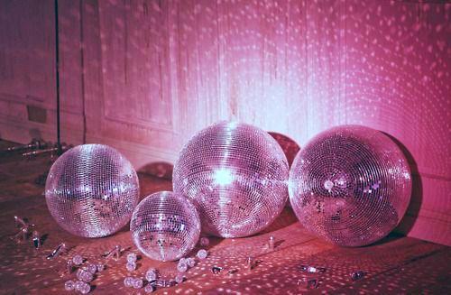 Disco balls, Disco ball, Disco, 70s tumblr aesthetic photo pink silver