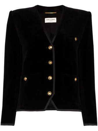 Saint Laurent Collarless Velvet Jacket - Farfetch