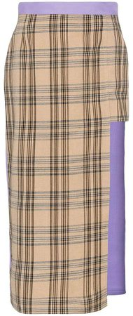 asymmetric check midi skirt