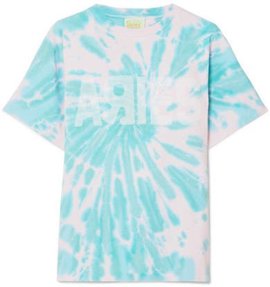 Go Your Own Way Printed Tie-dyed Cotton-jersey T-shirt - Pastel pink