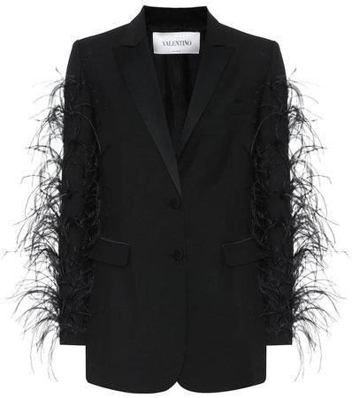 Valentino - Blazer en laine et mohair à plumes | Mytheresa