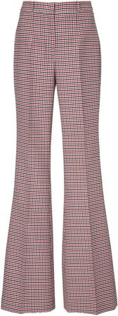 Pintucked Wool-Stretch Flared Pants