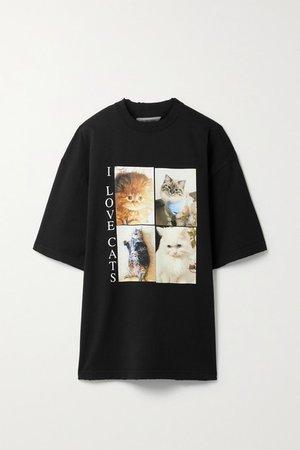 Oversized Printed Cotton-jersey T-shirt - Black