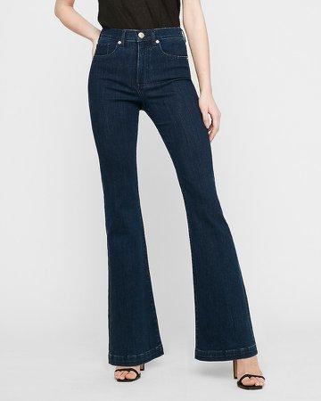 High Waisted Dark Wash Flare Jeans