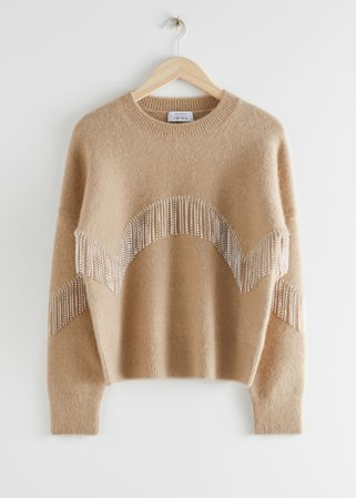 Diamanté Fringe Sweater - Beige - Sweaters - & Other Stories