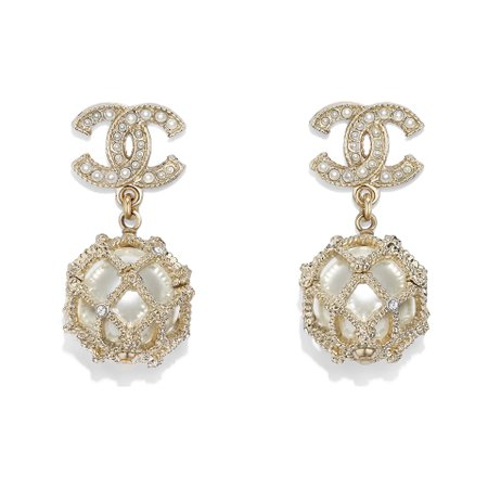 Metal, glass pearls, glass, strass & resin Gold, Pearly White & Crystal Earrings | CHANEL