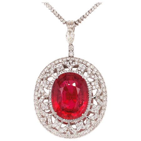 37.56 Carat Rubellite Tourmaline Diamond Pendant Necklace For Sale at 1stDibs
