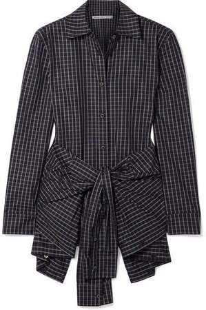 Layered Tie-front Checked Poplin Shirt - Black