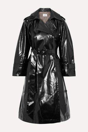 Ambar Belted Vinyl Trench Coat - Black