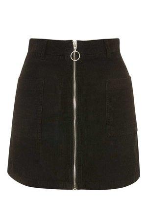 black a line zip skirt
