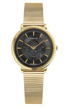 Versace V-Circle Mesh Strap Watch, 38mm | Nordstrom