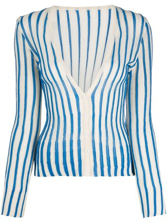 Jacquemus Striped Cardigan 201KN4454331 Blue | Farfetch