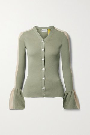 2 Moncler 1952 Two-tone Ribbed Cotton-blend Cardigan - Army green