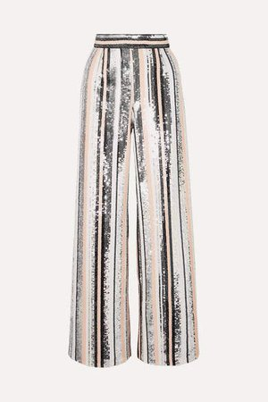 Sequined Tulle Straight-leg Pants - Silver