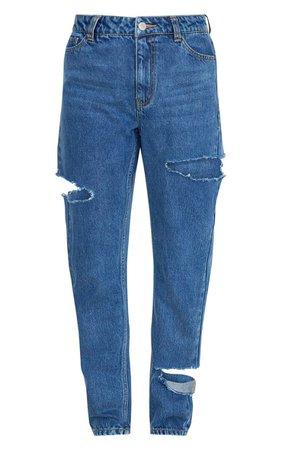 Mid Blue Thigh Split Straight Leg Jeans   PrettyLittleThing USA