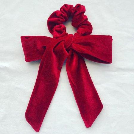 Red Velvet Bow Scrunchie