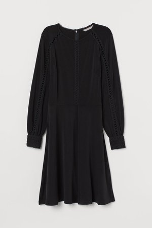 Jersey Dress with Lace - Black