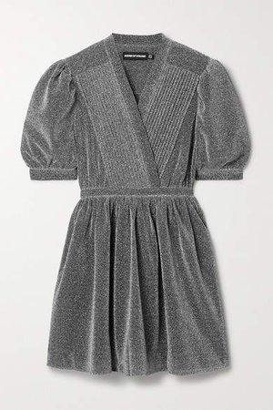 Pintucked Lurex Mini Dress - Silver