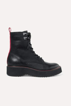 In Charge Lace-up Leather Ankle Boots - Black