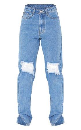 Light Blue Wash Knee Distressed Long Leg Split Hem Skinny Jeans   PrettyLittleThing USA