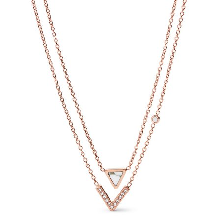 Geometric Rose Gold-Tone Steel Necklaces - Fossil