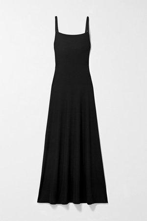 Cutout Ribbed Stretch-knit Maxi Dress - Black