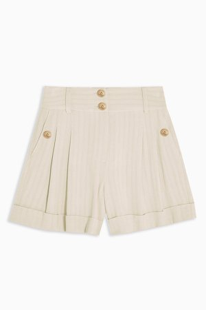 Ivory Stripe Shorts With Linen
