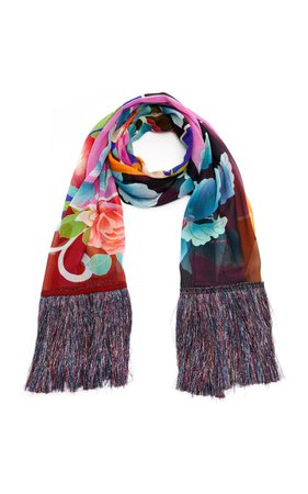 Etro Fringed Contrast Floral Scarf