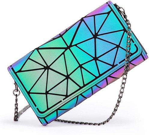 Amazon.com: Geometric Luminous Purses and Handbags for Women Holographic Reflective Crossbody Bag Wallet: Clothing