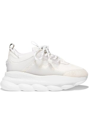 Versace | Chain Reaction mesh, neoprene and suede platform sneakers | NET-A-PORTER.COM