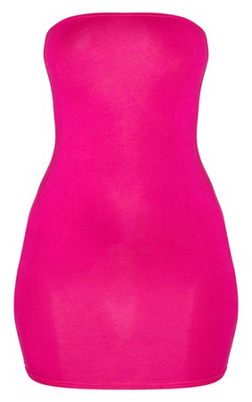 Hot Pink Basic Bandeau Bodycon Dress | PrettyLittleThing
