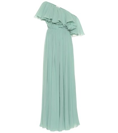 Ruffled silk gown
