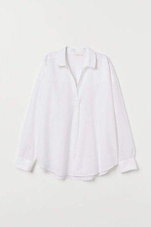 V-neck Linen-blend T-shirt - White