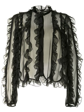 Giambattista Valli, Ruffled Sheer Blouse