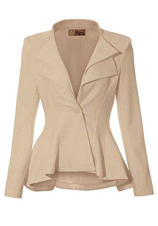 HyBrid & Company Women Double Notch Lapel Sharp Shoulder Pad Office Blazer at Amazon Women's Clothing store