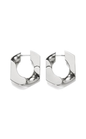 Platinum-Plated Chain Unit Earrings By Numbering | Moda Operandi