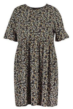 Plus Floral Ruffle Smock Dress | boohoo