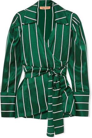 Maggie Marilyn - Wrap It Up Striped Silk-satin Shirt - Jade