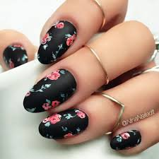 black and flower nails - Google Search