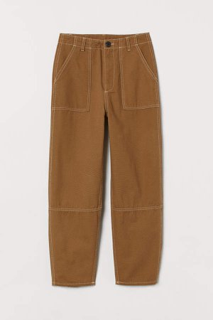Ankle-length Cotton Pants - Beige