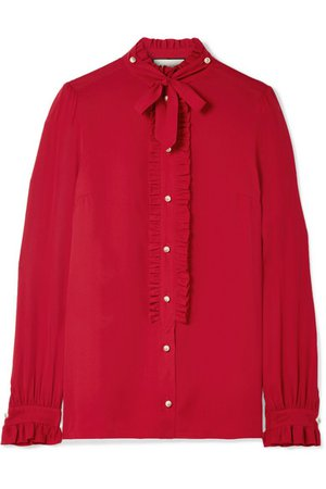 Gucci | Embellished ruffled silk crepe de chine blouse | NET-A-PORTER.COM