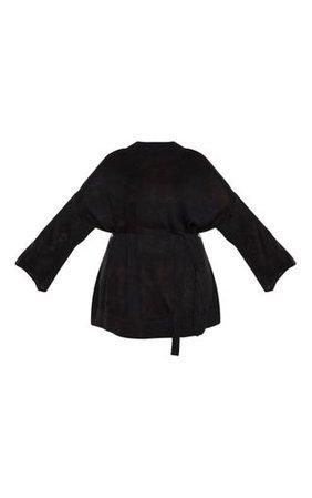 Plus Black Tie Waist Jumper Dress | PrettyLittleThing