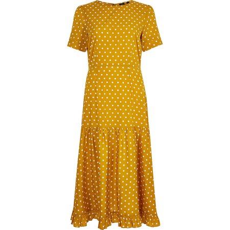 Yellow spot midi dress - Swing Dresses - Dresses - women