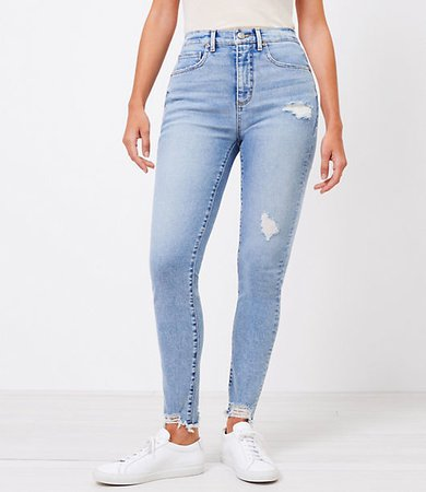 The Curvy Chewed Hem High Waist Skinny Jean in Pure Light Indigo Wash