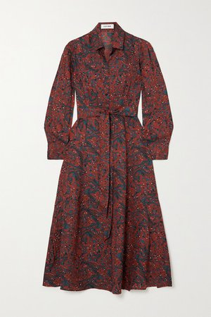Millie Belted Printed Twill Shirt Dress - Red