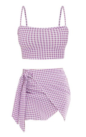 Violet Gingham Strappy Crop Top Waist Skirt Set   PrettyLittleThing USA